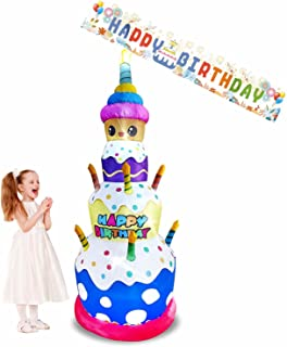 Emalie 7 Foot Tall Inflatable Birthday Cake with Candles & Happy Birthday Banner, Lighted Blowup Yard Lawn Decorations, La...