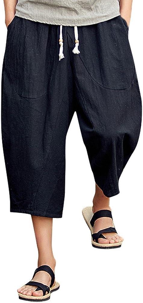 WEUIE Men Summer Shorts Loose Sports Fitness Pants Sweatpants,Men's Linen Baggy Casual Harem Pants Men Capris