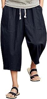 UJUNAOR Men's Casual Slim Sports Pants Calf-Length Linen Trousers Baggy Harem Pants