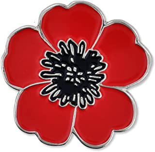 PinMart Red and Black Poppy Flower Remembrance Memorial Day Enamel Lapel Pin