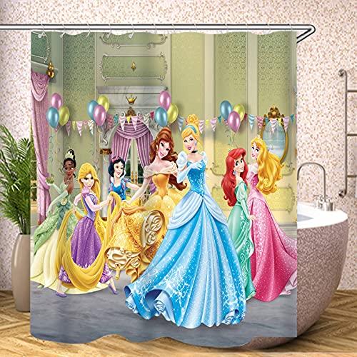 Bfrdollf Disney Princess Ariel - Cortina de ducha con 12 ganchos, impresión 3D, accesorios de baño modernos, lavable a máquina, multicolor (6,120 x 200 cm)
