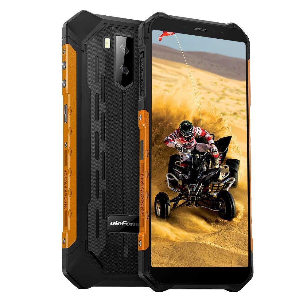 "Ulefone Armor X5 Unlocked Rugged Phones, Android 10 Octa-core 3GB + 32GB, 13MP+2MP+5MP Triple Camera 5.5"" HD+ Screen IP68 Waterproof Smartphone, 5000mAh Battery Dual 4G Rugged Smartphones -Orange"