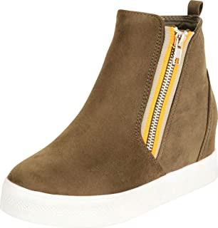 Cambridge Select Women's High Top Contrast Side Zip Hidden Wedge Fashion Sneaker