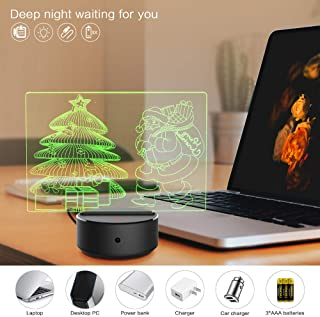 3D Night Light Visual Santa Claus 3D,Christmas Tree Night Light with Remote Control Base 7 Colors Changing Beside Table Desk Deco Lamp Bedroom Nightlight Toy Gift Idea …