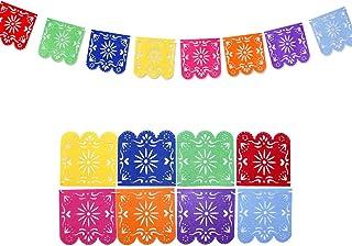 JOYMEMO 8 Piezas de Papel Picado Banner para Fiesta Mexicana de Cumpleaños de Cinco de Mayo y Fiesta de Bodas, Fieltro de Pinata Bunting