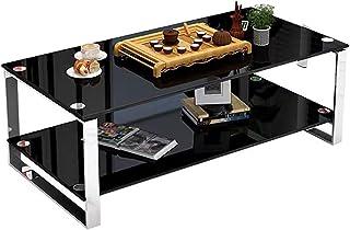 CJDM Table Basse, Salon Simple, Petit Bureau à Domicile, Table à thé en Verre trempé Double Couche économique, Table Basse