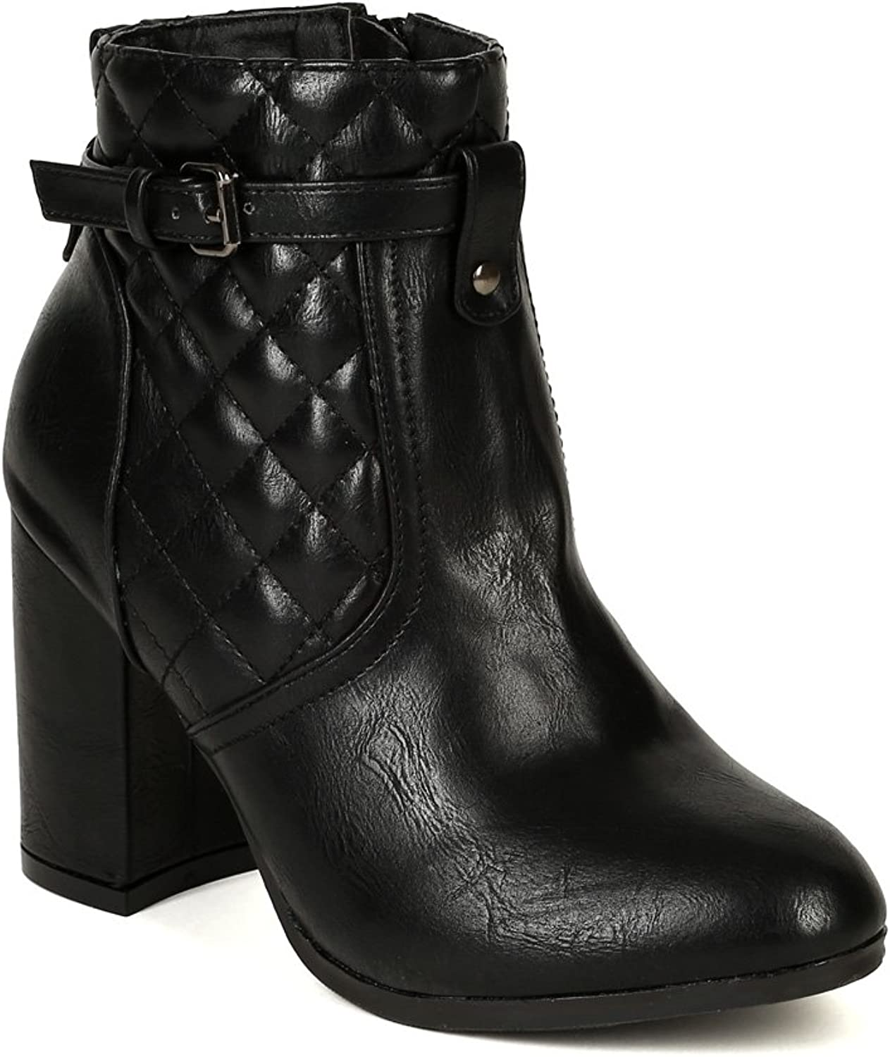 Nature Breeze BD83 Women Leatherette Quilted Strap Cigar Heel Ankle Bootie - Black