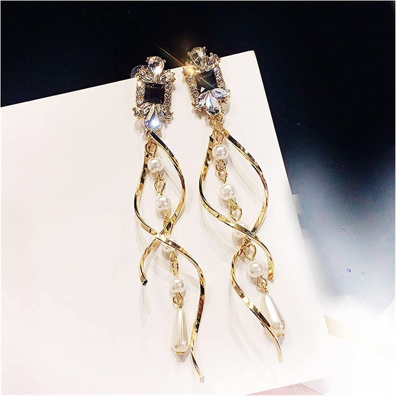 baidicheng Bride Long Earrings Baroque Water Drop Pearls Clip Earrings No Pierced Hole Elegant Curve Line Long Clip on Earrings (Metal Color : Clip on Earrings)