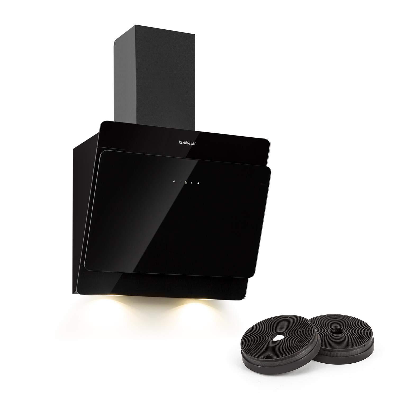 Klarstein Aurica - Campana extractora, Extractor humos, Juego extractor Kit recirculación, 165 W, Táctil, 60 cm, 2 filtro carbón activo, Negro: Amazon.es: Hogar