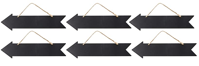 Hanging Chalkboard Sign - 6-Pack Directional Chalkboard Arrow, Reusable Chalk Signs, Hanging Wall Plaque, Decorative Sign, for Home, Office, School, Party, Wedding Decoration, 13.6 x 4.6 x 0.1 Inches