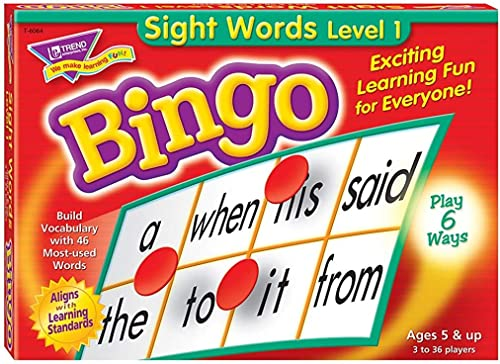 Sight Words Bingo - Language Building Skill Game for Home or Classroom (T6064), Build Vocabulary with 46 Most-Used Wo...