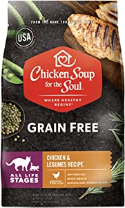 Chicken Soup for The Soul Pet Food Grain Free - Chicken & Legumes Recipe - Dry Cat Food 12lb - - Soy, Corn & Wheat Free, No Artificial Flavors or Preservatives