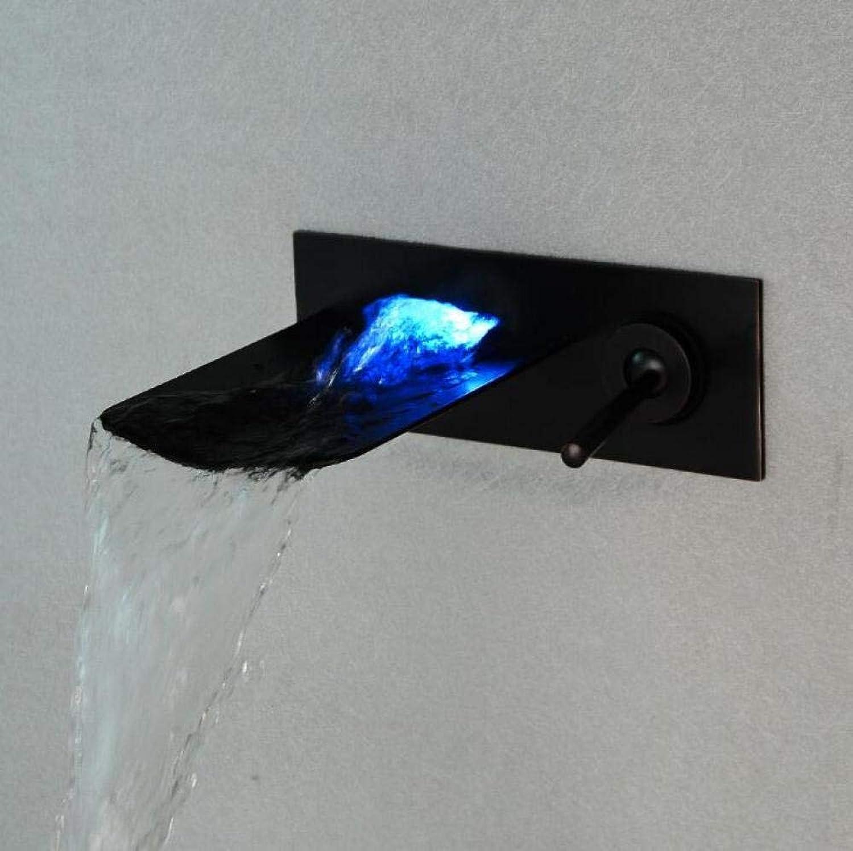 Europische schwarz Chrom alten Wand Wasserhahn LED Waschbecken Wasserhahn Einhand-Bad verborgen heien und kalten Wasserfall Wasserhahn