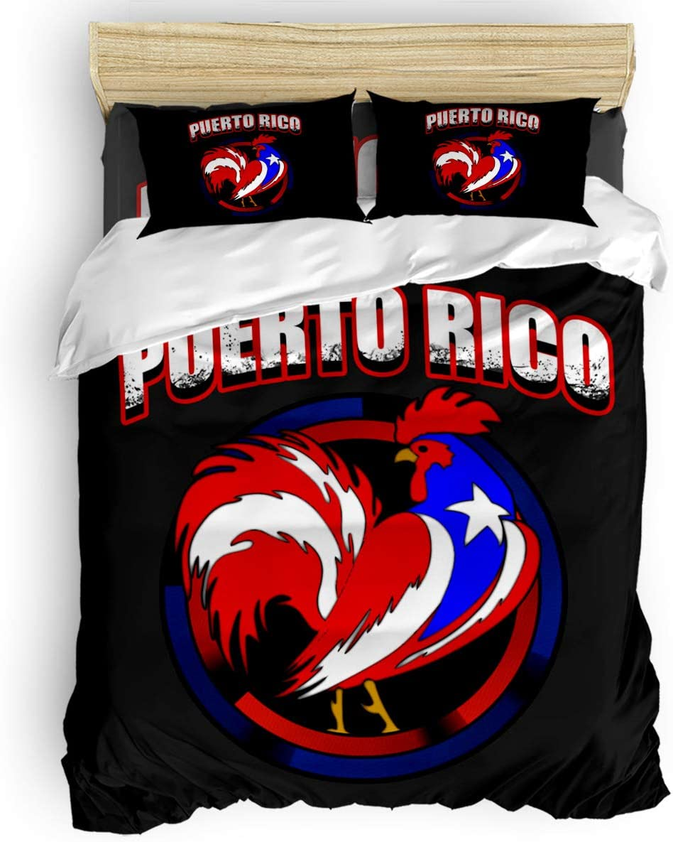 YOKOU Duvet Max 56% Fixed price for sale OFF Cover Set Full Size Puerto 4 Black Rico Cock Pcs