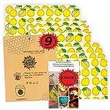 Womdee 1 peque/ño, 1 medio, 1 grande sostenible respetuoso con el medio ambiente reutilizable Papel de cera reutilizable Beeswax Wraps Set con 3 unidades de crecimiento de abejas para alimentos
