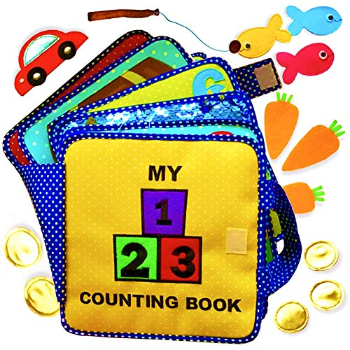 My Quiet Counting Book - 10 Pages - Montessori Style Fun & Educational Activities for Toddlers & Preschool Children Ages 2-6 Years Old - Fabric & Felt Busy Book