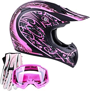 Typhoon Adult Women's Dirt Bike ATV Helmet Motocross Goggles and Gloves Combo - Matte Pink with Pink (Medium)