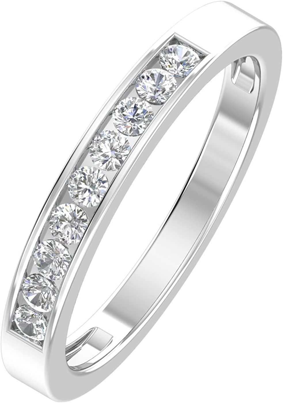 1/4ctw Diamond Channel Wedding Band in 10k White Gold or Yellow Gold
