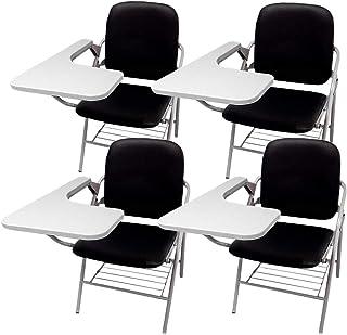 折り畳み式 テーブル 付き イス クッション 付き メモ台付き 会議 収納 チェアブル2 パイプ椅子 パイプイス ミーティングチェア 椅子 一体型 チェア 柔らかい CHBLE02 (ブラックx4脚)