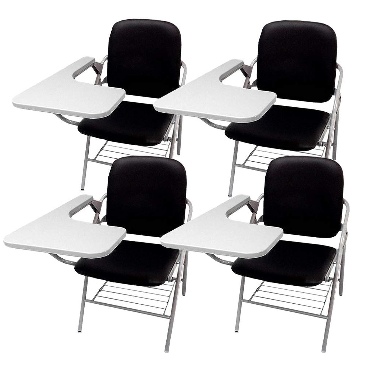 検索エンジンマーケティング高度不名誉折り畳み式 テーブル 付き イス クッション 付き メモ台付き 会議 収納 チェアブル2 パイプ椅子 パイプイス ミーティングチェア 椅子 一体型 チェア 柔らかい CHBLE02 (ブラックx4脚)