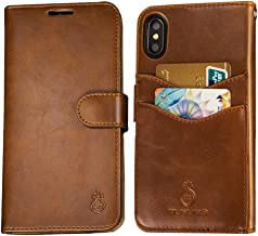 Mens iPhone 7 Plus Wallet Case,iPhone 8 Plus Wallet Phone Cover Folio Flip Cell Case Leather Case with Detachable PC Box Case Cell Phone Cover Bag with Card Slots,Cash Pocket,Magnet Closure,Brown
