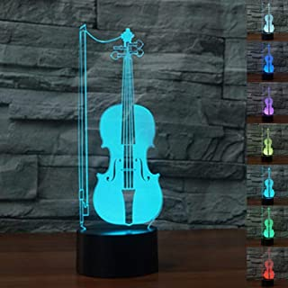 3D Violin Guitar Night Light Music Note Desk Optical Illusion Lamps 7 Color Changing Lights LED Table Lamp Xmas Home Love Brithday Children Kids Decor Toy Gift