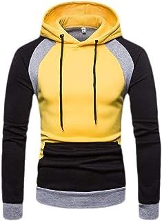Men's Casual Hoodies Cozy Sweatshirts Color Block Pullover Outwear