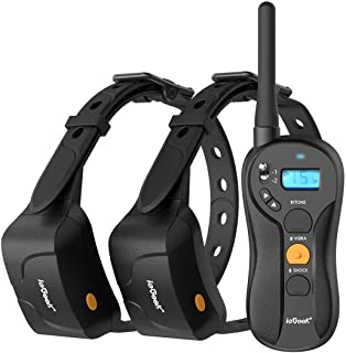 ieGeek Dog Training Collar for 2 Dogs - Rechargeable and Waterproof Shock Collar - 1960ft Blind Operation Remote Controlled Electric Collar with Tone/ Vibration/ Shock for Small/ Medium/ Large Dogs