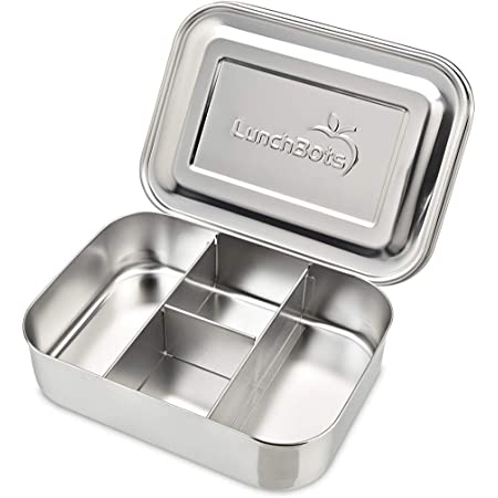 LunchBots Small Protein Packer Toddler Bento Box - Extra Small Divided Stainless Steel Snack Container - 4 Sections for 1-2oz of Nuts, Meat, Cheese, Finger Foods - Dishwasher Safe - Stainless Lid