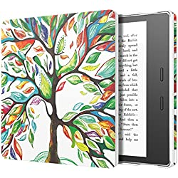 MoKo Case Fits All-New Kindle Oasis (9th and 10th Generation ONLY, 2017 and 2019 Release), Slim Fit Premium PU Leather Protective Cover with Auto Wake/Sleep - Lucky Tree