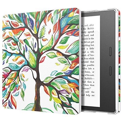 MoKo Hülle für Der Neue Kindle Oasis (9. Gen und 10.Gen, 2017 und 2019 Modell NUR) eReader - Ultra Leightweight Schutzhülle Smart Cover mit Auto Sleep/Wake Funktion, Glück Baum