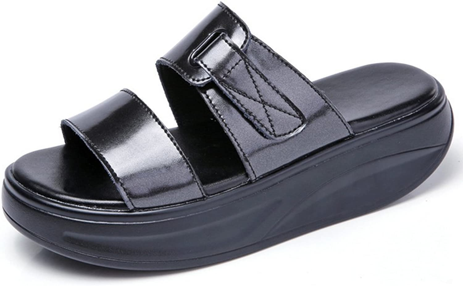 Weiwei Lady Summer Thick-Soled Slippers,Fashion with Flat Sandals Non-Slip Wear Slippers