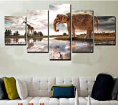 WLHRJ 5 Panel Wall Art Elephant Painting The Picture Print On Canvas For Home Decoration Gift Piece Stretched By Wooden Frame Ready To Hang 100cm(W) x 55cm(H)