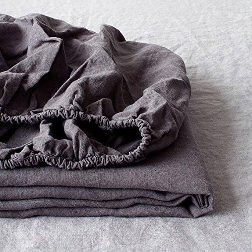 Simple&Opulence Spannbetttuch, 100 % Leinen, 1 Stück, natürlicher belgischer Flachs, King-Size, 35,6 cm tiefe Tasche, steingewaschen, Landhaus-Bettwäsche, dunkelgrau