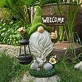 Gartenzwerg Statue, Garten GNOME Statue Solar Leuchte,Gartenzwerg-Statue Dwarf Statue-Resin Ornament mit Solar LED Beleuchtung für Terrasse Hof Rasen Frühlingsfest (A)