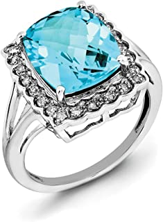 Sterling Silver Polished Prong set Rhodium-plated Diamond and Light Swiss Blue Topaz Ring - Ring Size Options Range: J to T
