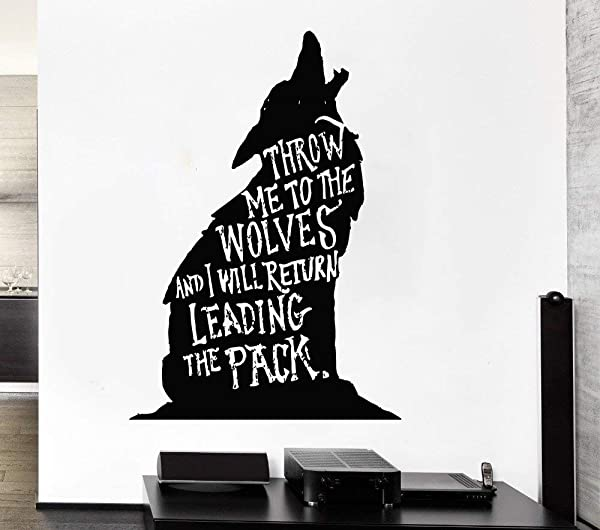 Wolf Wall Decals Room D Cor Wolves Wall Art Vinyl Stickers Wolf Decorations Pictures For Home Bedroom Kids Nursery Room Animals Wildlife Forest Safari Jungle Savannah WO015