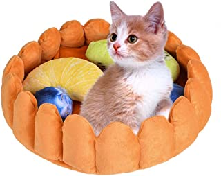 laamei Cat Pet Bed Fruit Tart, Cat Puppy Bed Round Warm Cotton Cat Cave Bed