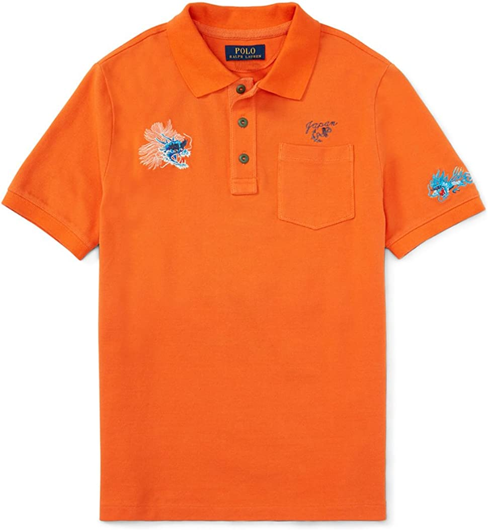 Ralph Lauren Boys Dragon Embroidered Japan Polo Shirt (7) Orange