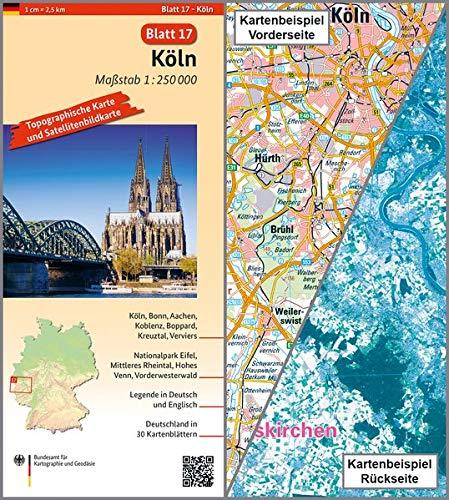 Köln: Umgebungskarte mit Satellitenbild 1:250.000 (TK250 / Topographische und Satellitenbildkarte)
