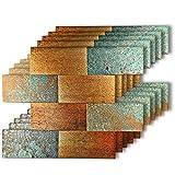 HomeyMosaic Peel and Stick Tile Backsplash for Kitchen Wall Decor Aluminum Surface Metal Mosaic Tiles Sticker,Subway Imitation Rust Classical Retro Bronze,12'x12' x 5 Tiles