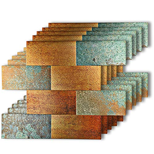 HomeyMosaic Peel and Stick Tile Backsplash for Kitchen Wall Decor Aluminum Surface Metal Mosaic Tiles Sticker,Subway Imitation Rust Classical Retro Bronze,12