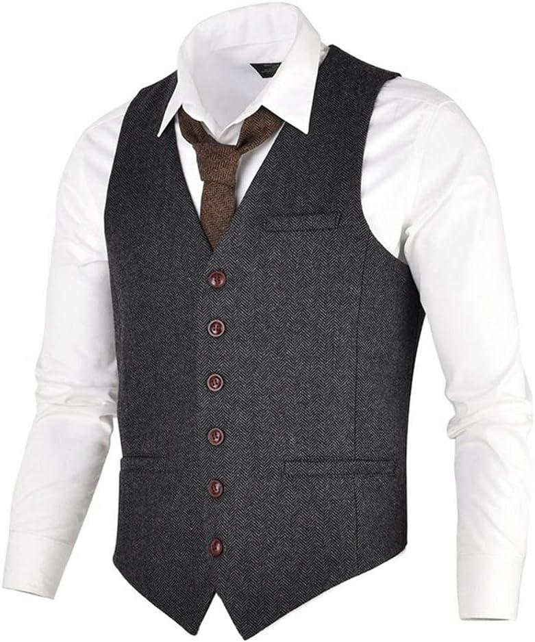 ZLDGYG Men Sale Special Price Waistcoat Coffee Suit Blend Herringbone Male 35% OFF Twe Wool