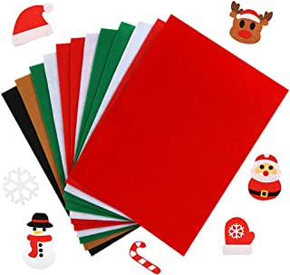 Caydo 12 Pieces A4 Christmas Felt Fabric Sheets, 5 Colors Felt Sheets Craft for DIY Christmas Decorations