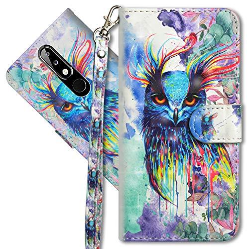 MRSTER Nokia 5.1 Plus Étui à Rabat 3D Désign Portefeuille Housse [Magnétique] [Fonction Stand] [Porte Carte] PU Cuir Protection Coque pour Nokia 5.1 Plus 2018. YX 3D - Colorful Owl