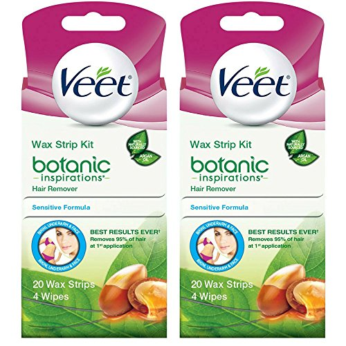 Veet Body, Bikini and Face Hair Remover Wax Kit, 20 ct (Pack of 2)
