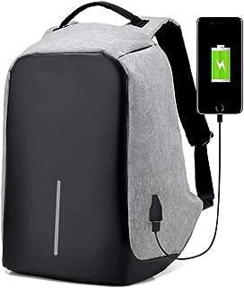 حقيبة ظهر للكمبيوتر المحمول للجنسين مضادة للسرقة مع منفذ شاحن USB