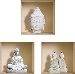 The Nisha Art Magic 3D Vinyl Removable Wall Sticker Decals DIY, Set of 3, White Buddha
