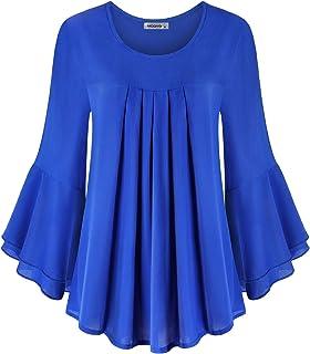 MOQIVGI Womens Fashion Casual Ruffle Long Sleeve Scoop Neck Pleated Chiffon Blouse Tops