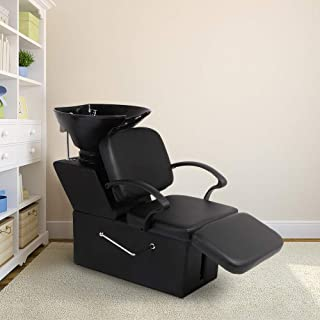 Aoxun Shampoo Backwash Chair, ABS Plastic Shampoo Bowl Sink Barber Chair for Spa Beauty Salon(Adjustable Footrest)